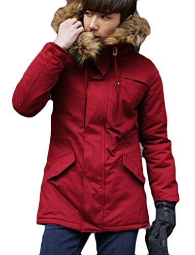 Winter today Mens Fur UK Down Faux Overcoat Thicken Warm Jacket Padded Red Hoodie YdpY1rwq