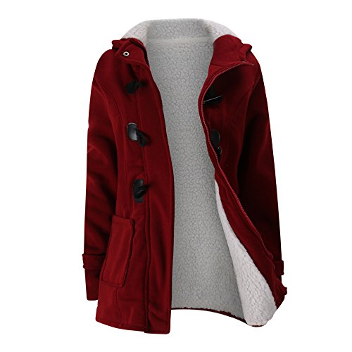 Hot Elonglin Women Duffle Coat Coton Fleece Trench Coat Winter Hooded Horn Button free shipping