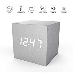 Digital Alarm Clock, Micar LED Light Mini Modern Cube Desk Alarm Clock Displays Time Date Temperature for Kids, Bedrooms, Home, Dormitory, Travel (Light Grey)