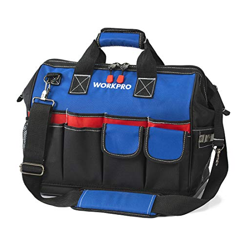 WORKPRO Heavy Duty Tool Bag,18-Inch Wide Mouth Canvas Tool Organizer with Water Proof Molded Base ...