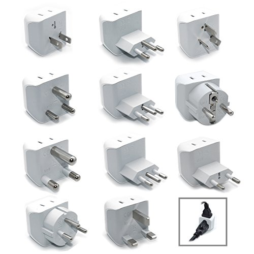 Ceptics World Travel Adapter Set 2 in 1 USA to Europe, Asia, Africa, India, Japan, Australia, Brazil, China, Israel and more - 11 Pack (Does Not Convert Voltage)