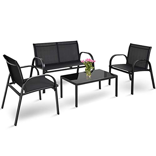 Tangkula 4 Piece Patio Furniture Outdoor Sofa Garden Lawn Sectional Conversation Set Outdoor Garden Poolside Glass Top Tea Coffee Table and Chairs with Smooth Armrest (Patio Furniture Cheap Sale For)