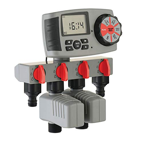 Automatic 4-Zone Irrigation System Watering Timer Garden Water Timer Controller System with 2 Solenoid Valve