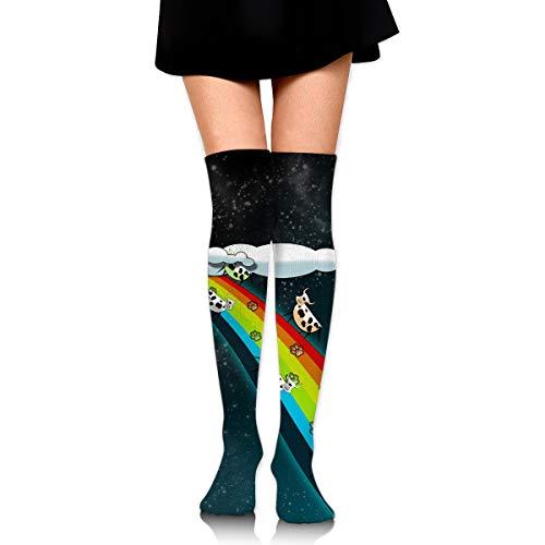 (High Elasticity Girl Cotton Knee High Socks Uniform Rainbow Bridge Women Tube)