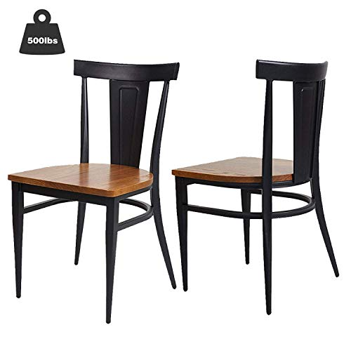 KARMAS PRODUCT 2 Pack Stackable Metal Dining Chairs with Solid Wooden Seat,Restaurant Bistro Cafe Side Chairs,Weight Capacity 500lbs,Black