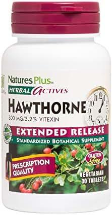 NaturesPlus Herbal Actives Hawthorne - 300mg, 3.2% Vitexin, 30 Vegan Tablets - Heart Health Support Supplement, Blood Pressure Support, Antioxidant - Vegetarian, Gluten Free - 30 Servings