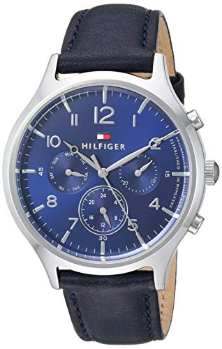 Tommy Hilfiger Women's Emmy Stainless Steel Quartz Watch with Leather Calfskin Strap, Blue, 17.1 (Model: 1781874)