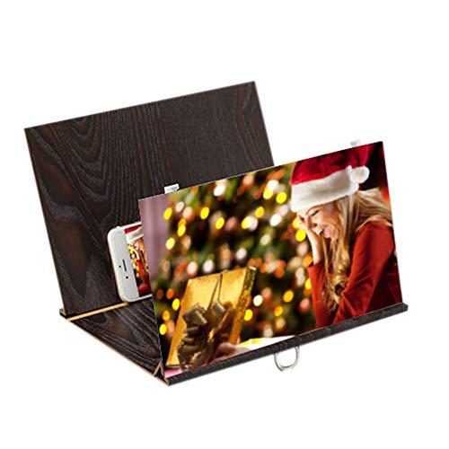 Amplifier Channel 12 (LtrottedJ 3D Phone Screen Magnifier Stereoscopic Amplifying 8 Inch/12 Inch Desktop Wood Bracket (Black))