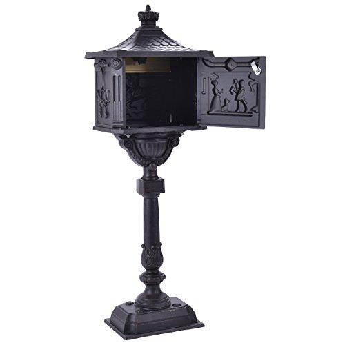 Mail Box Heavy Duty Mailbox Postal Box Security Cast Aluminum Vertical Pedestal (Mailboxes Fence Mount)