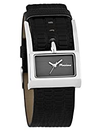 Marciano Women's | Fashion Rectangle Black Watch with Large Belt Style Band | FC0181