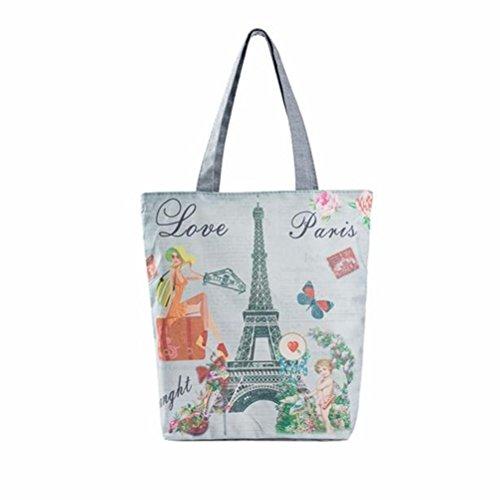 WINOMO Borsa a tracolla Parigi Torre Canvas Tote Casual spiaggia donne zaino borse