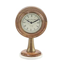 Deco 79 95972 Modern Wood and Marble Round Table Clock 5 W x 12 H Bronze, White, Black
