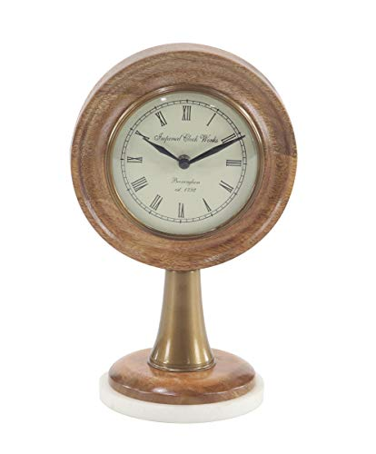 Deco 79 95972 Modern Wood and Marble Round Table Clock 5