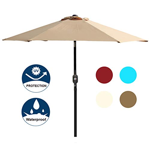 (Blissun 7.5 ft Outdoor Market Patio Umbrella with Push Button Tilt and Crank (Tan))
