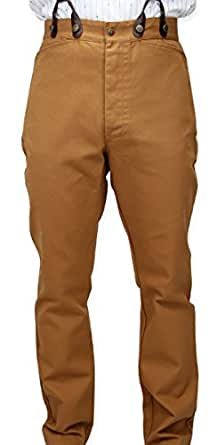 Historical Emporium Men's High Waist Classic Canvas Work Trousers 30 Brown