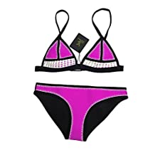 FLORAVOGUE Farrah Blanket Stitch Crochet Neoprene Bikini Triangle Swimsuit Set