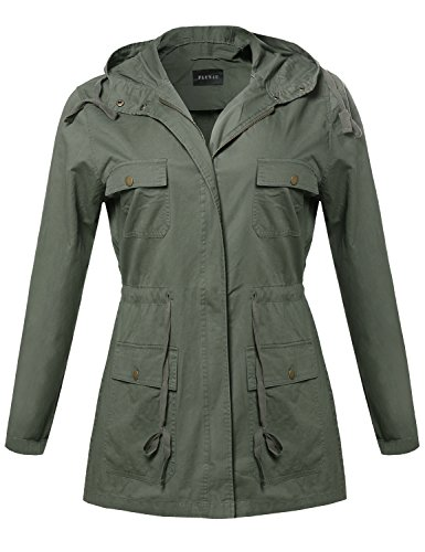 Essential Lightweight Hooded Utility Jacket Olive Size 3XL