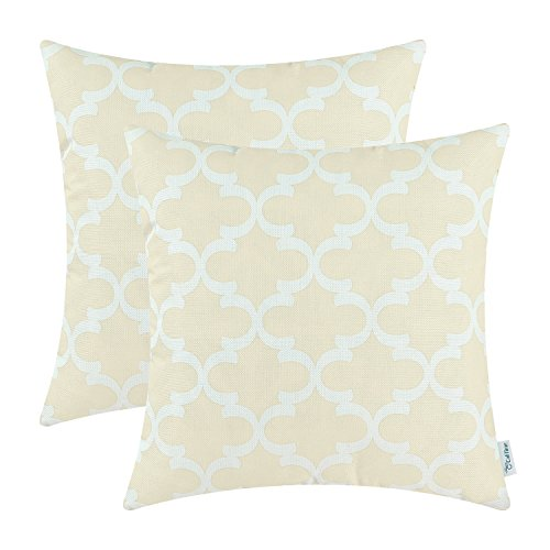 Pack of 2 Calitime Soft Canvas Throw Pillow Covers Cases for Couch Sofa Home Decor, Modern Quatrefoil Accent Geometric, 18 X 18 Inches, (Cream Canvas)