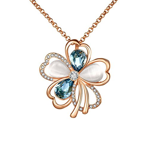 G&T Sterling Silver Fashion Flower Necklace Pendant Inlay crystal For Women Girl(C2)