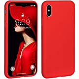 Jia Wei Mei Silicone Case for iPhone X Case, Liquid Silicone Case Gel Rubber Shockproof Cover Full Protective Case for Apple iPhone X 5.8 Inch -Red