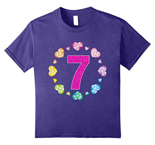 [Kids 7th Birthday T-Shirt For Girls Shiny Hearts Princess Glitter 8 Purple] (Princess Outfit Ideas)