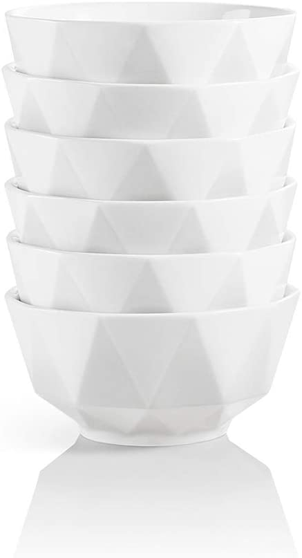 SWEEJAR Porcelain Bowls Geometric Design 23 Oz for Cereal, Nuts, Soup, Side Dishes, Pasta, Ceramic Serving Bowls Stack Well for Kitchen Counter - Set of 6 (White)
