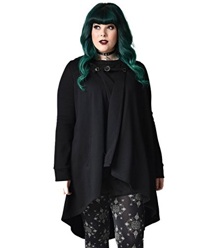 Unique Vintage Gothic Style Black Hooded Cotton Coat by Unique Vintage