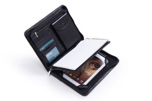 Compact Deluxe Leather Padfolio Case for Samsung Galaxy Note 8.0, Black