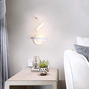 CHYING LED Wall Sconce Simple Stylish SpiralWall Lamp White Contemporary 15W Indoor Decorative Bedside Lamp Sconces Fixture for Living Room Aisle Bedroom