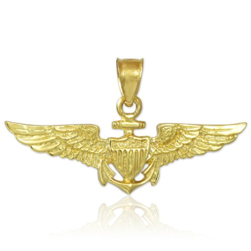 Solid 10k Gold US Naval Aviator Wings Pendant (Gold Eagle Pendant Solid 10k)