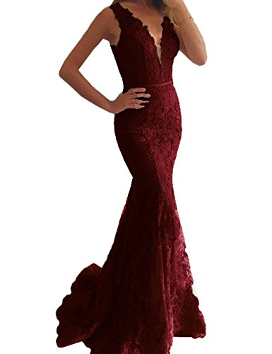 Prom V Dresses Aurora Neck 2018 Gown Bridal Long Evening Lace A043 Mermaid Burgundy Women's xqvp6