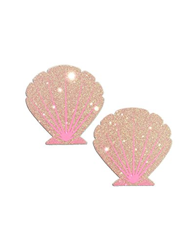 iHeartRaves Glitter Pink Mermaid Sea Shell Rave Pasties (Set of 2 -