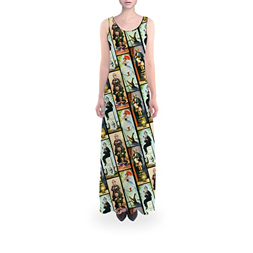 Queen of Cases Haunted Mansion Stretch Paintings Flared Maxi Dress - 2XL Regular