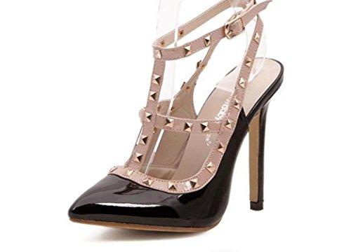 YCMDM Donne Sandali Rivet a punta cava col tacco alto scarpe singolo 39 36 35 38 37 40 , black apricot , 39