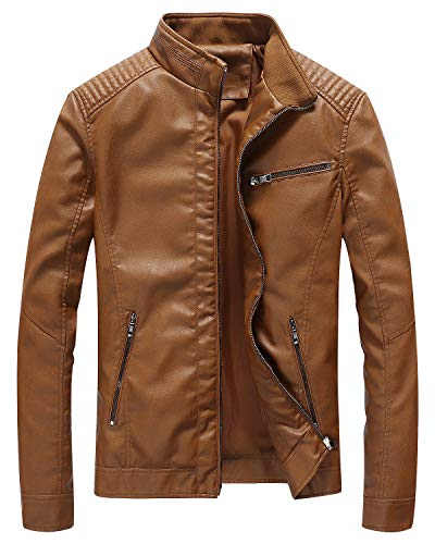 Fairylinks Leather Jacket Men Slim Fit Motorcyle Lightweight ,Brown,Small