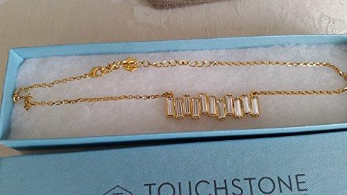 Touchstone Crystal by Swarovski Golden Baguette Bar Crystal Necklace (Crystal Touchstone Jewelry)