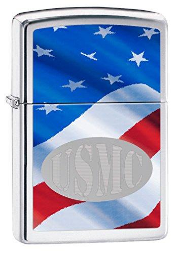 Zippo USMC American Flag High Polish Chrome Pocket -