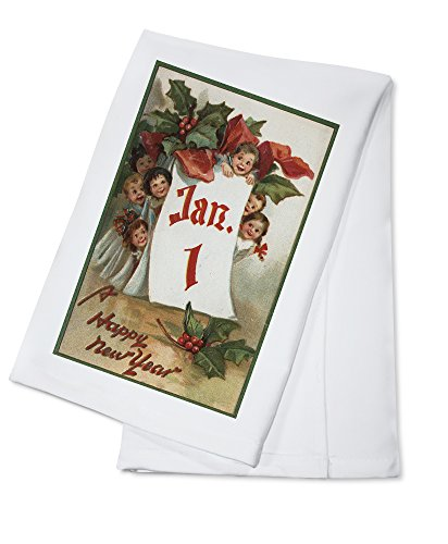 a-happy-new-year-group-of-kids-hiding-behind-calendar-100-cotton-kitchen-towel