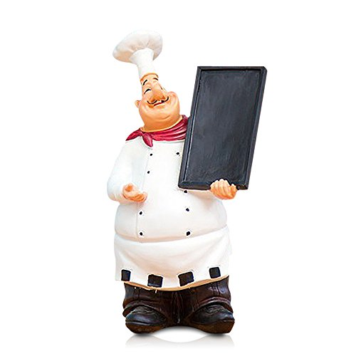 Reoean Resin Decorative Ornaments,Kitchen Decor,Cook Statue,French Chef Figurines with Tray (Figurines Chefs French)
