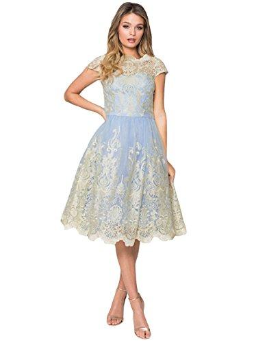 45d2512ff30a0 Chi Chi London Women's A-Line Dress - Blue - L: Amazon.co.uk: Clothing