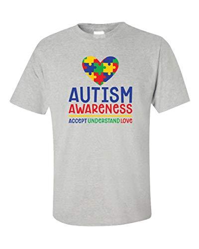 (Autism Awareness - Accept Understand Love - Unisex T-Shirt Ash Grey)