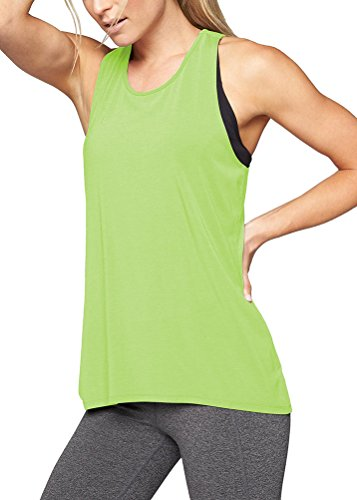 Mippo Women's Loose Fit Yoga Shirts Tunic Racerback Tank Top Sleeveless Criss Cross Stretchy Loose Junior Workout Tops Green S by Mippo (Image #1)