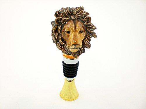Swarovski Crystal Wine Stopper - Ciel Collectables Lion Face Bottle Stopper, Hand Set Swarovski Crystal, Hand Painted Enamel Brown,