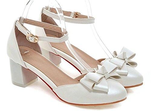 Sfnld Women's Sweet Round Toe Low Cut D-Orsay Ankle Strap Mid Chunky Heel with Buckle White 6 B(M) (Cheap Shoes For Teen Girls)