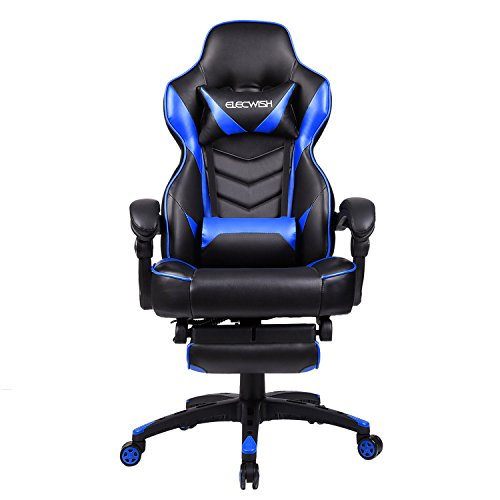 Office Racing Video Gaming Chair Ergonomic Swivel PU Leather Bucket Seat High Back Chair Footrest Padding Lumbar Support Headrest (Blue)