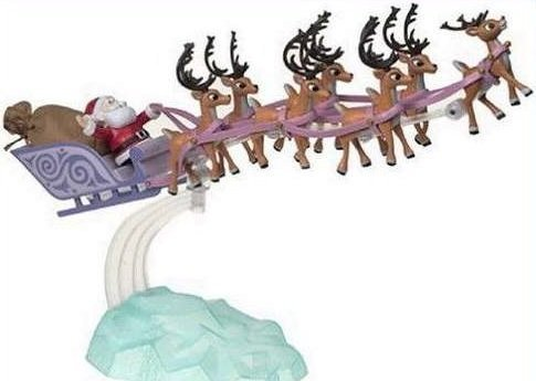 Santa's Sleigh & Reindeer Team PVC Figurine Set Classic Colors 2015 Version