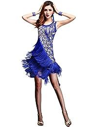 Z&X Dancewear Women 1920s Gatsby Sequin Embellished Fringed Flapper Latin Dress
