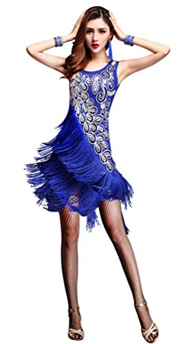 Z&X Dancewear Women 1920s Gatsby Sequin Embellished Fringed Flapper Latin Dress Medium Royal Blue