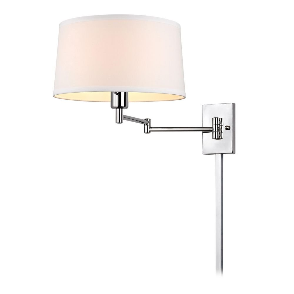 Chrome Swing-Arm Wall Lamp with Drum Shade and Cord Cover - Wall Sconces -  Amazon.com - Chrome Swing-Arm Wall Lamp With Drum Shade And Cord Cover - Wall