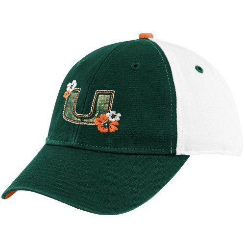 (adidas Miami Hurricanes Ladies White Flower Adjustable Slouch)